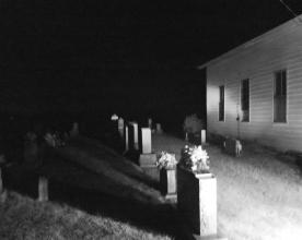 DSC00184 Old Salem Night Church bw