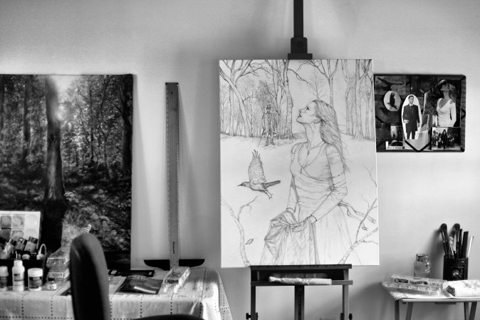IMG_3016 painting in art studio b&w
