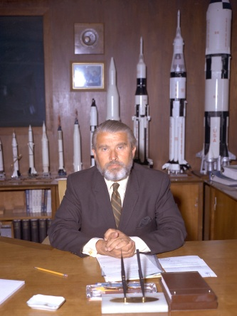 MSFC Center Director Von Braun, Wernher-Dr. ( with a beard) In his office with Rocket Models In Background. 2/2/70 (MIX FILE)